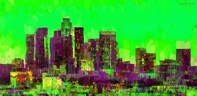 Manhattan Painting - Los Angeles Skyline 105 - Pa by Leonardo Digenio