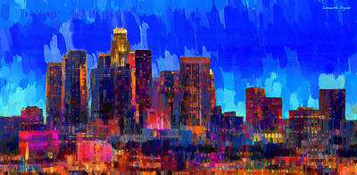 New York Digital Art - Los Angeles Skyline 106 - Da by Leonardo Digenio
