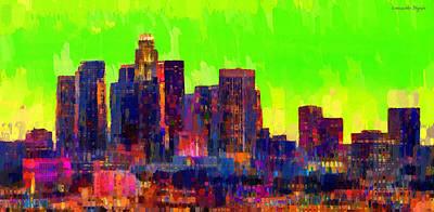 Detail Digital Art - Los Angeles Skyline 107 - Pa by Leonardo Digenio