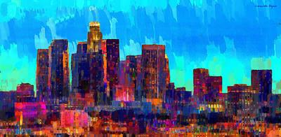 Los Angeles Skyline 108 - Pa Print by Leonardo Digenio