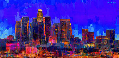 New York City Skyline Digital Art - Los Angeles Skyline 109 - Da by Leonardo Digenio