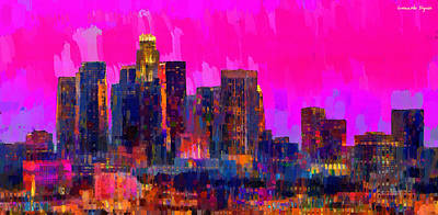 Los Angeles Skyline 110 - Da Art Print