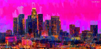 Historic Painting - Los Angeles Skyline 110 - Pa by Leonardo Digenio