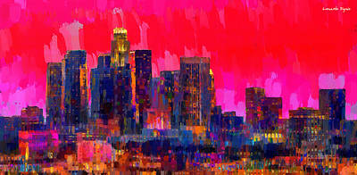 U.s Digital Art - Los Angeles Skyline 111 - Da by Leonardo Digenio