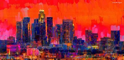Los Angeles Digital Art - Los Angeles Skyline 112 - Da by Leonardo Digenio
