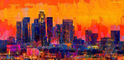 Us Capital Digital Art - Los Angeles Skyline 113 - Da by Leonardo Digenio
