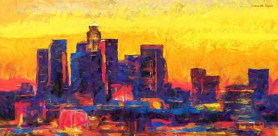 U.s.a Painting - Los Angeles Skyline 121 - Pa by Leonardo Digenio