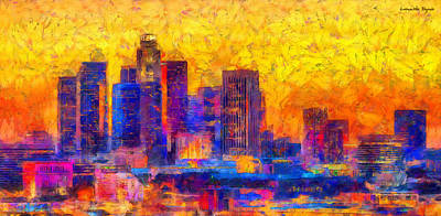 Intense Digital Art - Los Angeles Skyline 122 - Da by Leonardo Digenio