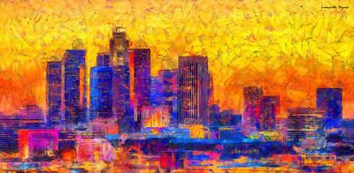 Colorful Painting - Los Angeles Skyline 122 - Pa by Leonardo Digenio
