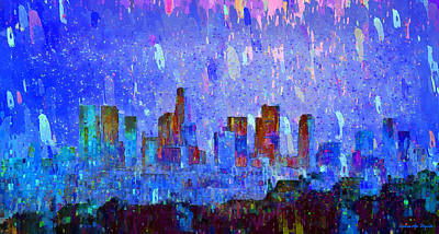 Intense Digital Art - Los Angeles Skyline 2 - Da by Leonardo Digenio