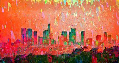Harbor Digital Art - Los Angeles Skyline 3 - Da by Leonardo Digenio