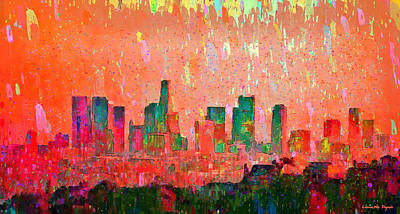 Los Angeles Digital Art - Los Angeles Skyline 3 - Pa by Leonardo Digenio