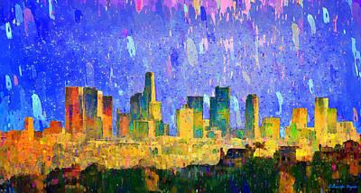 Dusk Digital Art - Los Angeles Skyline 5 - Da by Leonardo Digenio