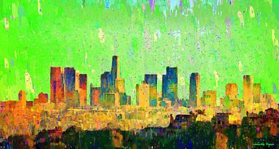 U.s.a Painting - Los Angeles Skyline 6 - Da by Leonardo Digenio