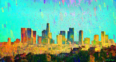Harbor Painting - Los Angeles Skyline 7 - Pa by Leonardo Digenio