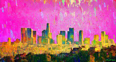 Travel Painting - Los Angeles Skyline 8 - Pa by Leonardo Digenio