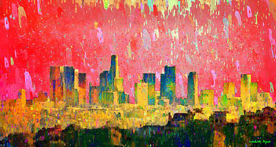 Los Angeles Skyline 9 - Da Art Print by Leonardo Digenio