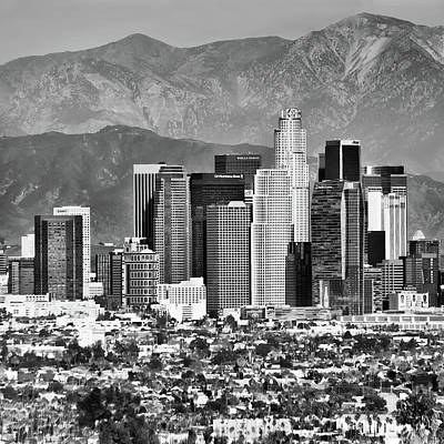 Photograph - Los Angeles Skyline And Mountain Landscape - Square 1x1 Monochrome by Gregory Ballos