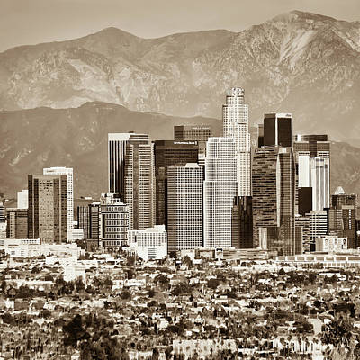 Photograph - Los Angeles Skyline And Mountain Landscape - Square 1x1 Sepia by Gregory Ballos