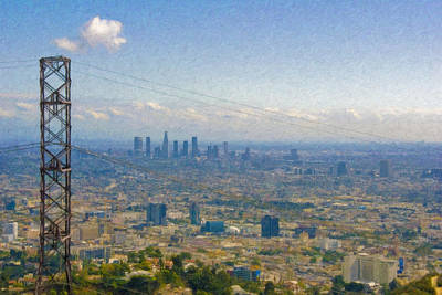 Photograph - Los Angeles Skyline Between Power Lines by David Zanzinger