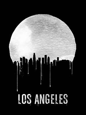 Panorama Painting - Los Angeles Skyline Black by Naxart Studio