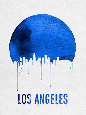 Los Angeles Skyline Blue Print by Naxart Studio