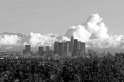 Photograph - Los Angeles Skyline Cloudscape Black And White by Matt Harang