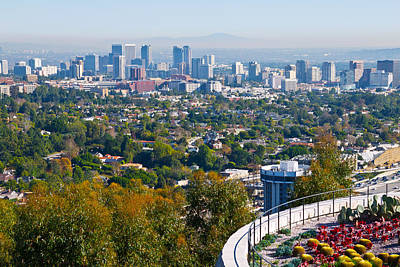 Photograph - Los Angeles Skyline From The Getty Museum by Melinda Fawver