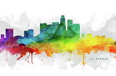 Skylines Royalty-Free and Rights-Managed Images - Los Angeles Skyline MMR-USCALA05 by Aged Pixel