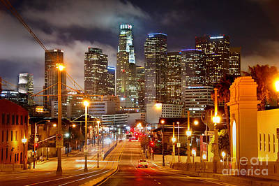 Los Angeles Skyline Photograph - Los Angeles Skyline Night From The East by Jon Holiday