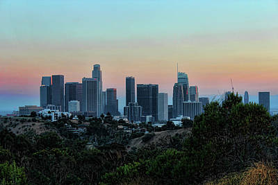 Photograph - Los Angeles Skyline Nighttime 1 by Helaine Cummins