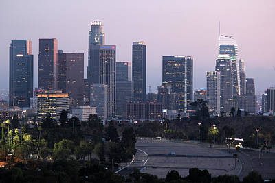 Photograph - Los Angeles Skyline Nighttime 2 by Helaine Cummins