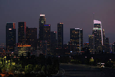 Photograph - Los Angeles Skyline Nighttime 3 by Helaine Cummins
