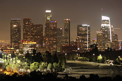 Photograph - Los Angeles Skyline Nighttime 4 by Helaine Cummins