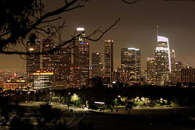 Photograph - Los Angeles Skyline Nighttime 5 by Helaine Cummins
