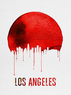 Panorama Digital Art - Los Angeles Skyline Red by Naxart Studio