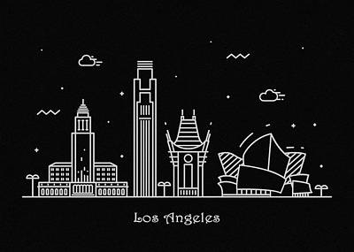 Los Angeles Skyline Drawing - Los Angeles Skyline Travel Poster by Inspirowl Design