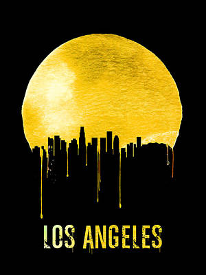 Panorama Digital Art - Los Angeles Skyline Yellow by Naxart Studio