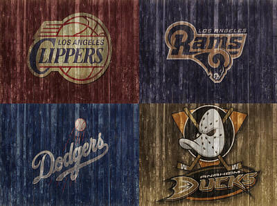 Los Angeles Dodgers Mixed Media - Los Angeles Sports Teams Barn Door by Dan Sproul