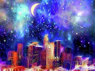 Los Angeles Skyline Mixed Media - Los Angeles Starry Night by Daniel Janda