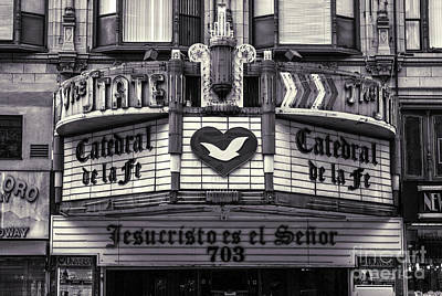 Photograph - Los Angeles State Theater Black And White by Gregory Dyer