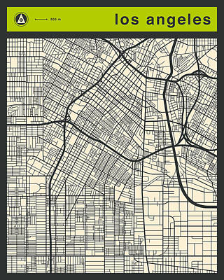 Los Angeles Street Map Art Print by Jazzberry Blue
