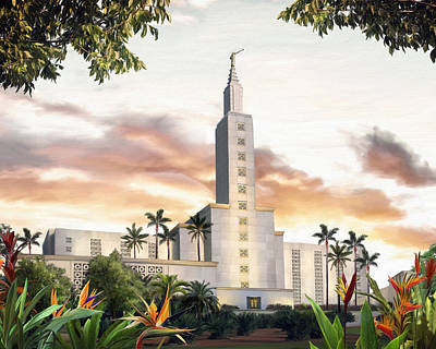Lds Painting - Los Angeles Temple by Brent Borup
