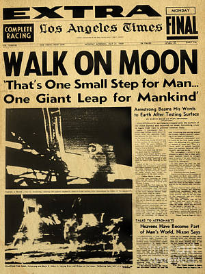 Digital Art - Los Angeles Times Moon Walk Newspaper by Alicia Hollinger