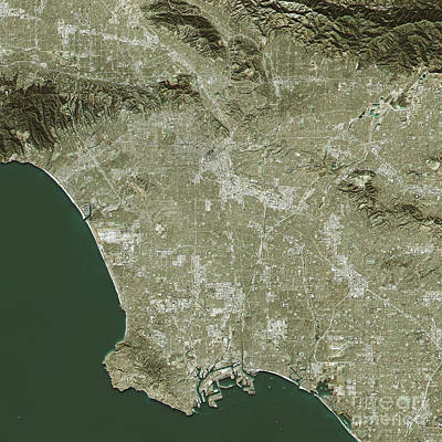 Map Digital Art - Los Angeles Topographic Map Natural Color Top View by Frank Ramspott
