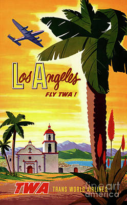 Drawing - Los Angeles Vintage Air Travel Poster Restored by Carsten Reisinger
