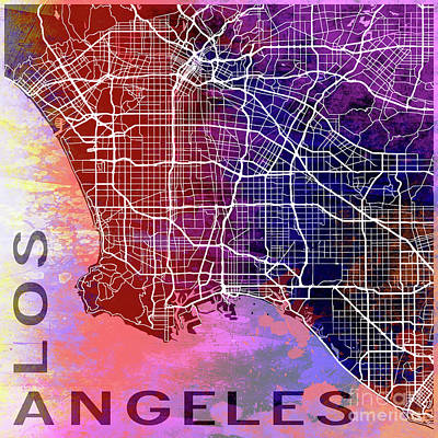 Pop Art Royalty-Free and Rights-Managed Images - Los Angeles watercolor by Delphimages Photo Creations