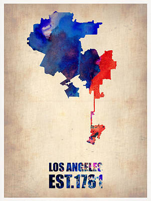 Cities Digital Art - Los Angeles Watercolor Map 1 by Naxart Studio