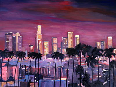Los Angeles Skyline Painting - Los Angeles With Golden Skyline by M Bleichner