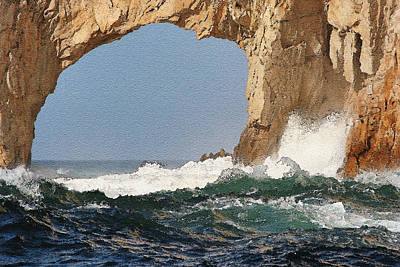Cabo Digital Art - Los Arcos Watercolor by LeeAnn White